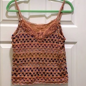 Free People Lace Knit Sweater Pink Tank Top